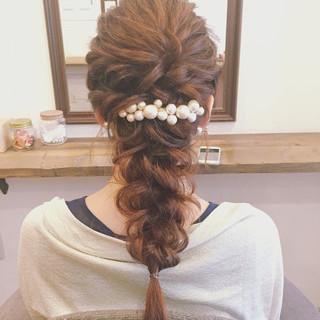 女子会 リラックス 結婚式 セミロング ヘアスタイルや髪型の写真・画像