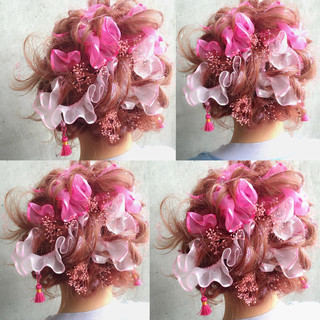 ゆるふわ ハーフアップ ショート ミディアム ヘアスタイルや髪型の写真・画像