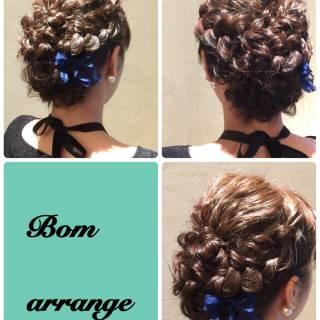コンサバ 結婚式 編み込み ミディアム ヘアスタイルや髪型の写真・画像