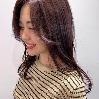 うる艶カラー ピンクバイオレット セミロング 前髪 ヘアスタイルや髪型の写真・画像
