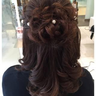 愛され 結婚式 ヘアアレンジ フェミニン ヘアスタイルや髪型の写真・画像