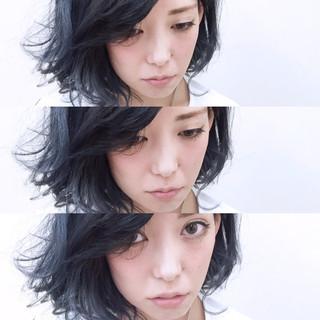 アッシュ ブルー モード 暗髪 ヘアスタイルや髪型の写真・画像