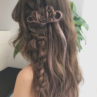 結婚式 ロング ガーリー レッド ヘアスタイルや髪型の写真・画像
