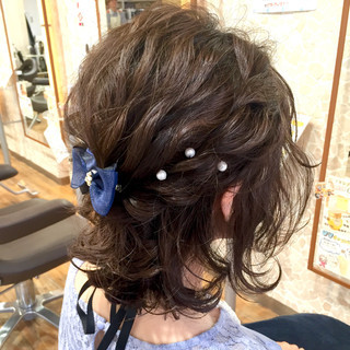 黒髪 結婚式 簡単ヘアアレンジ ヘアアレンジ ヘアスタイルや髪型の写真・画像