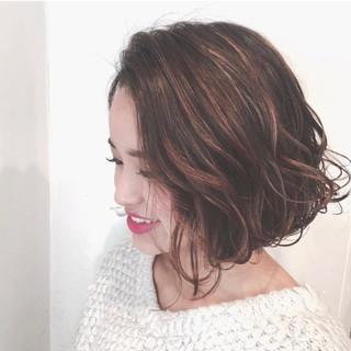 ボブ 外国人風カラー ハイライト 抜け感 ヘアスタイルや髪型の写真・画像