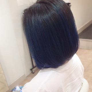 ブリーチ Wカラー ブリーチオンカラー ブルーグラデーション ヘアスタイルや髪型の写真・画像