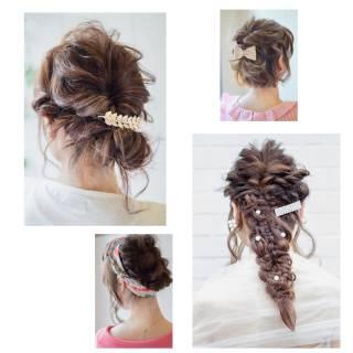 ヘアアレンジ ミディアム ルーズ ショート ヘアスタイルや髪型の写真・画像