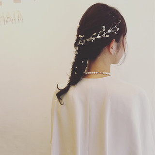 ロング 編み込み ヘアアレンジ フェミニン ヘアスタイルや髪型の写真・画像