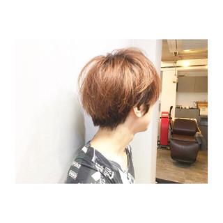 ピンク モテ髪 アシメバング カッパー ヘアスタイルや髪型の写真・画像