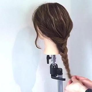 ロング デート キャップ 編み込み ヘアスタイルや髪型の写真・画像