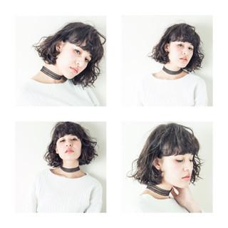 ストリート フェミニン ボブ 暗髪 ヘアスタイルや髪型の写真・画像
