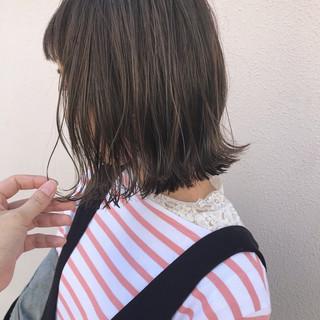ボブ 切りっぱなし ハイライト ロブ ヘアスタイルや髪型の写真・画像