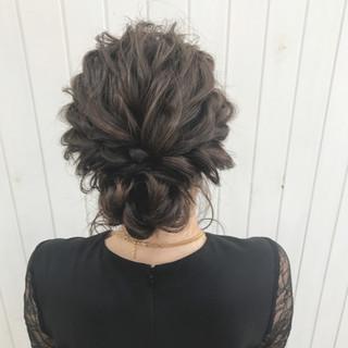 女子会 ヘアアレンジ 結婚式 ミディアム ヘアスタイルや髪型の写真・画像