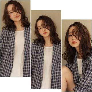 抜け感 束感 セミロング 暗髪 ヘアスタイルや髪型の写真・画像