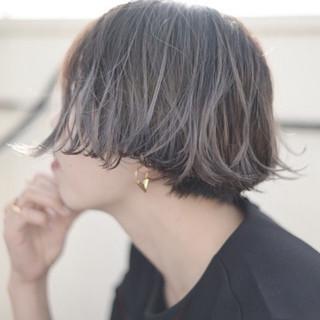 ボブ グラデーションカラー ハイトーン ホワイトアッシュ ヘアスタイルや髪型の写真・画像