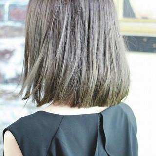 グラデーションカラー ボブ アッシュ ハイライト ヘアスタイルや髪型の写真・画像