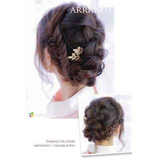 ショート 編み込み ヘアアクセ ミディアム ヘアスタイルや髪型の写真・画像