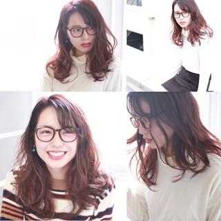 グラデーションカラー ピンク 春 レッド ヘアスタイルや髪型の写真・画像