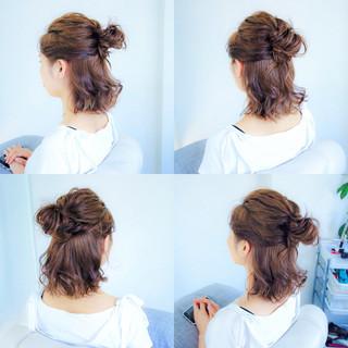 ナチュラル 簡単ヘアアレンジ ボブ 女子会 ヘアスタイルや髪型の写真・画像