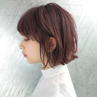ピンク モード ボブ ラベンダーピンク ヘアスタイルや髪型の写真・画像