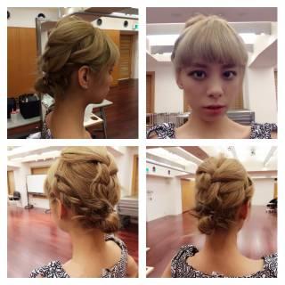 ハイトーン ヘアアレンジ ミディアム ガーリー ヘアスタイルや髪型の写真・画像
