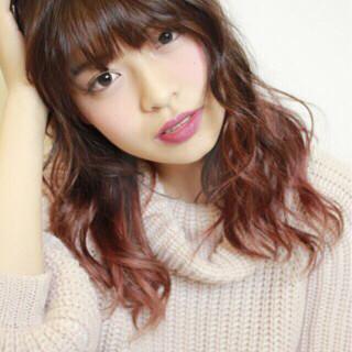 ピンク ロング 大人かわいい レッド ヘアスタイルや髪型の写真・画像