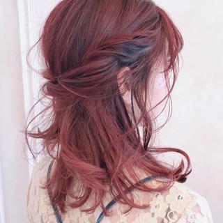 結婚式 デート フェミニン ミディアム ヘアスタイルや髪型の写真・画像