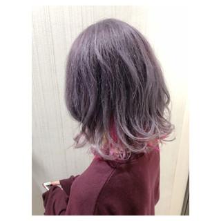 ミディアム ダブルカラー ラベンダーアッシュ ラベンダーピンク ヘアスタイルや髪型の写真・画像