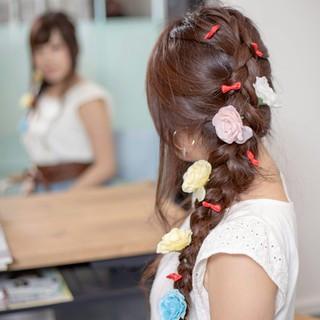 ロング 甘め ヘアアレンジ 花 ヘアスタイルや髪型の写真・画像