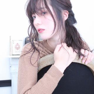 簡単ヘアアレンジ ショート ハーフアップ 冬 ヘアスタイルや髪型の写真・画像