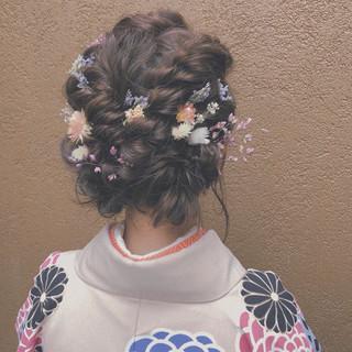 簡単ヘアアレンジ フェミニン ヘアアレンジ ミディアム ヘアスタイルや髪型の写真・画像