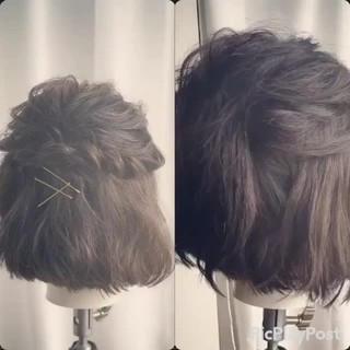 大人女子 編み込み 簡単ヘアアレンジ ボブ ヘアスタイルや髪型の写真・画像
