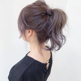 ヘアアレンジ セミロング 簡単ヘアアレンジ バイオレットカラー ヘアスタイルや髪型の写真・画像