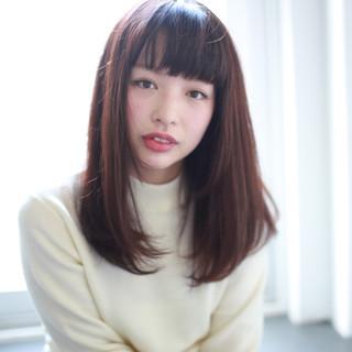 暗髪 セミロング フェミニン アッシュ ヘアスタイルや髪型の写真・画像