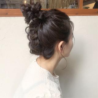 お団子 ロング ヘアアレンジ 簡単ヘアアレンジ ヘアスタイルや髪型の写真・画像