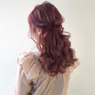 ヘアアレンジ ロング ハーフアップ ガーリー ヘアスタイルや髪型の写真・画像