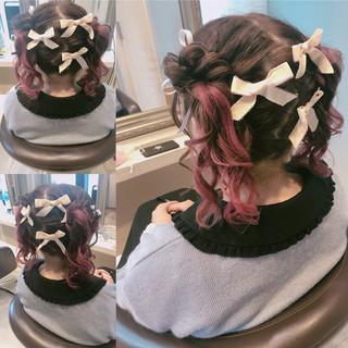 ヘアアレンジ グラデーションカラー お団子 ガーリー ヘアスタイルや髪型の写真・画像