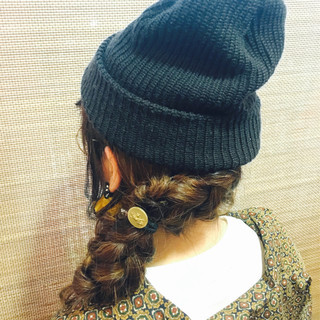 ナチュラル 編み込み お団子 ヘアアレンジ ヘアスタイルや髪型の写真・画像