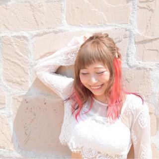 ピンク インナーカラー パープル ガーリー ヘアスタイルや髪型の写真・画像