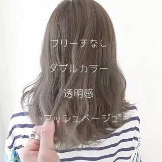 アッシュ 外国人風 セミロング 透明感 ヘアスタイルや髪型の写真・画像