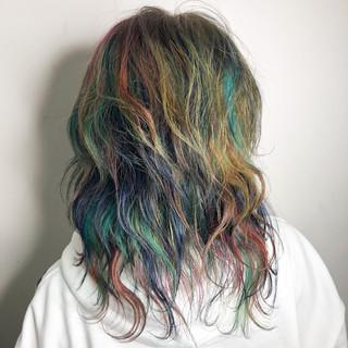 ユニコーンカラー ヘアアレンジ モード ミディアム ヘアスタイルや髪型の写真・画像