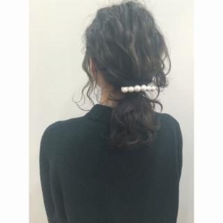 ウェーブ ヘアアレンジ ミディアム ハーフアップ ヘアスタイルや髪型の写真・画像