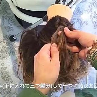 ルーズ ヘアアレンジ セミロング 編み込み ヘアスタイルや髪型の写真・画像