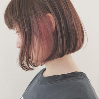 切りっぱなし ハイライト ボブ インナーカラー ヘアスタイルや髪型の写真・画像