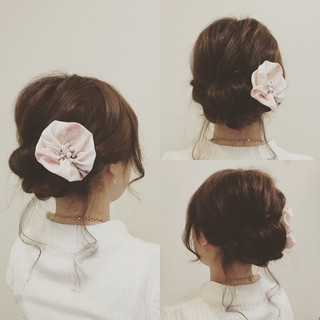 花火大会 夏 まとめ髪 セミロング ヘアスタイルや髪型の写真・画像