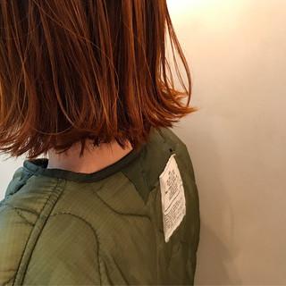 オレンジ ダブルカラー ボブ イエロー ヘアスタイルや髪型の写真・画像