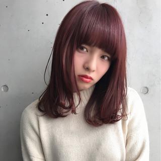 ピンク ワンカール 艶髪 ストリート ヘアスタイルや髪型の写真・画像