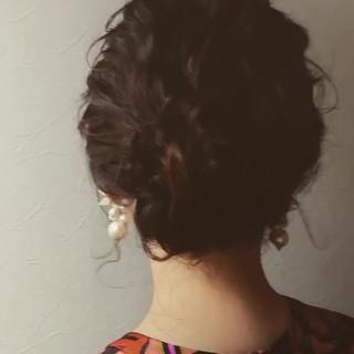 黒髪 フェミニン ヘアアレンジ セミロング ヘアスタイルや髪型の写真・画像