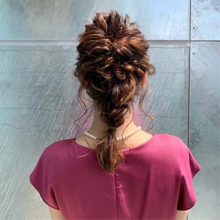 編み込み デート 簡単ヘアアレンジ フェミニン ヘアスタイルや髪型の写真・画像