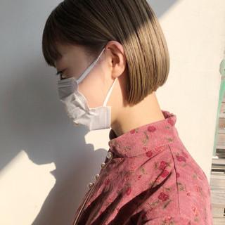 インナーカラー ミニボブ ナチュラル ショートボブ ヘアスタイルや髪型の写真・画像